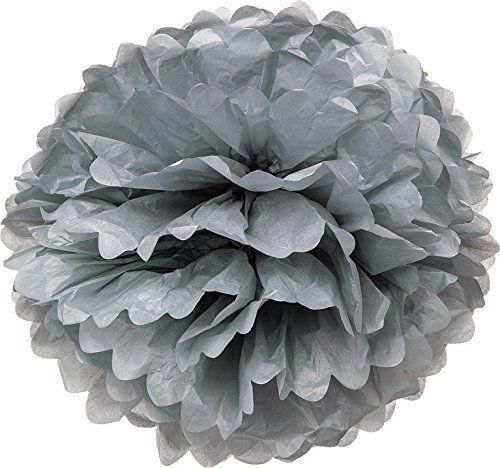 PomPom, silkkipaperipallo/silkkipaperikukka, harmaa, 36 cm