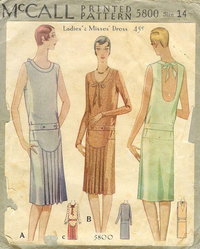 Patterns - Women\'s Dresses - Daytime 1929 | 1920s Dresses | Pinterest