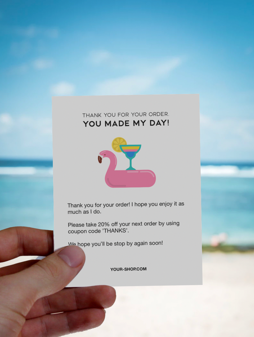 Thank You For Your Order. You Made My Day - Flamingo and Summer Drink. Thank You Packaging Insert for Summer. #businessthankyoucards