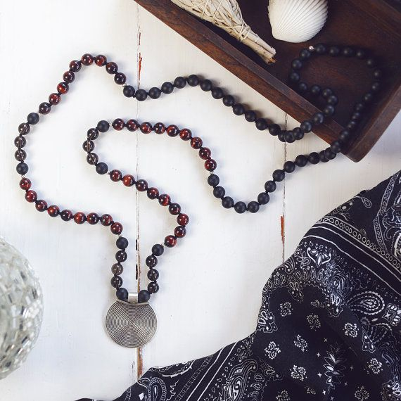 Red Tiger Eye Hand-knotted Mala Necklace 108 Mala by TaipaShop