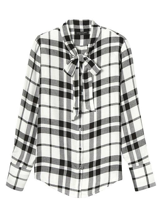 fa45ce7141b Banana Republic Dillon Fit Tie Neck Flannel Shirt | Products ...