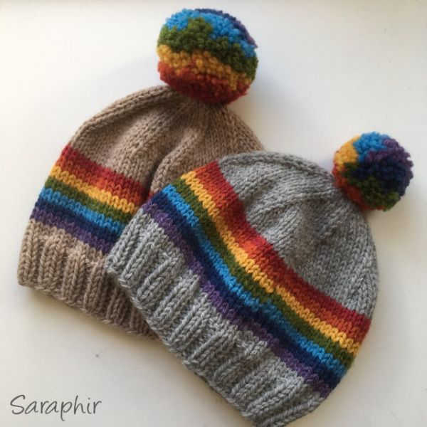 Free Bentie Pompom Beanie knitting pattern - toddler and child size || by Saraphir