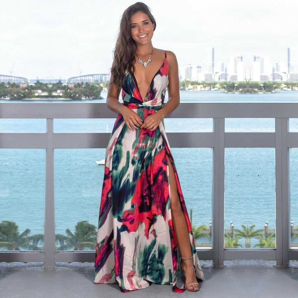Floral women/'s summer Womens Casual sundress Dresses V Neck Long Sleeveless Maxi