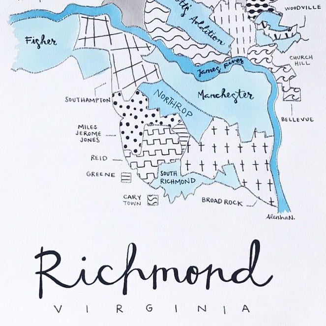 Art By Aleisha S Hand Painted Neighborhood Map Of Richmond Va Art