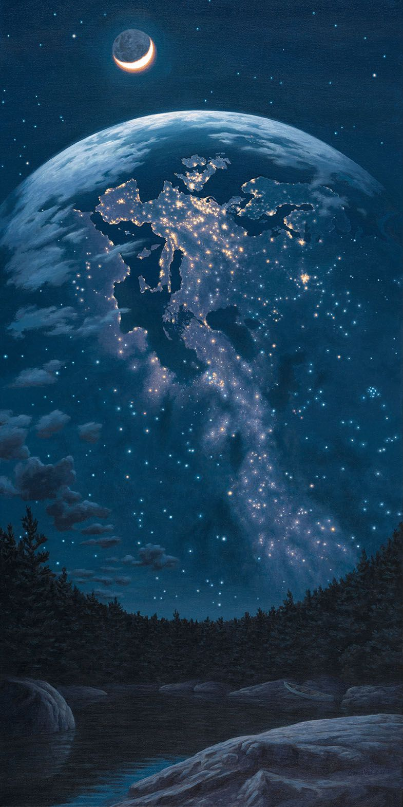 Pouretrebelle Night Lights By Rob Gonsalves Surrealism