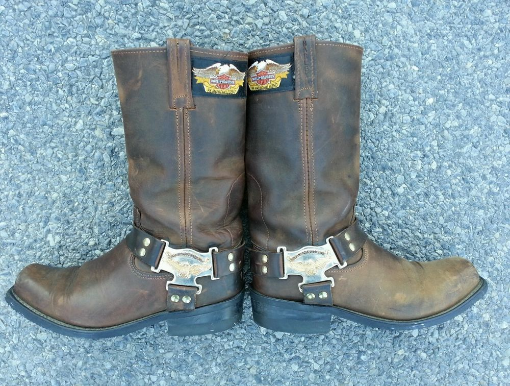 Mens Harley Davidson Motorcycles Distressed Leather Harness Engineer Boots  8m