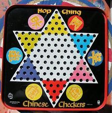 VTG  PRESSMAN  CHINESE CHECKERS METAL GAME WITH PLASTIC MARBLES AND INSTRUCTIONS