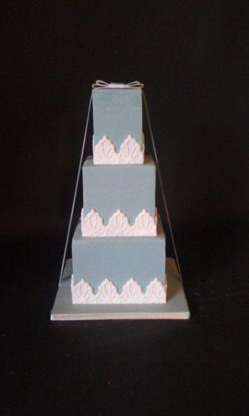 mini blue wedding cake