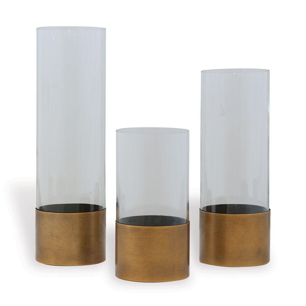 Set of 3 Evanston Clear Vases Candle Stick Holder Aged Brass Finish Metal
