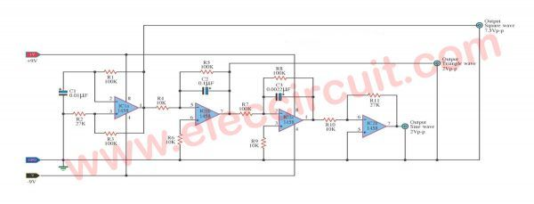 Simple function generator using op amp LM1458 ...