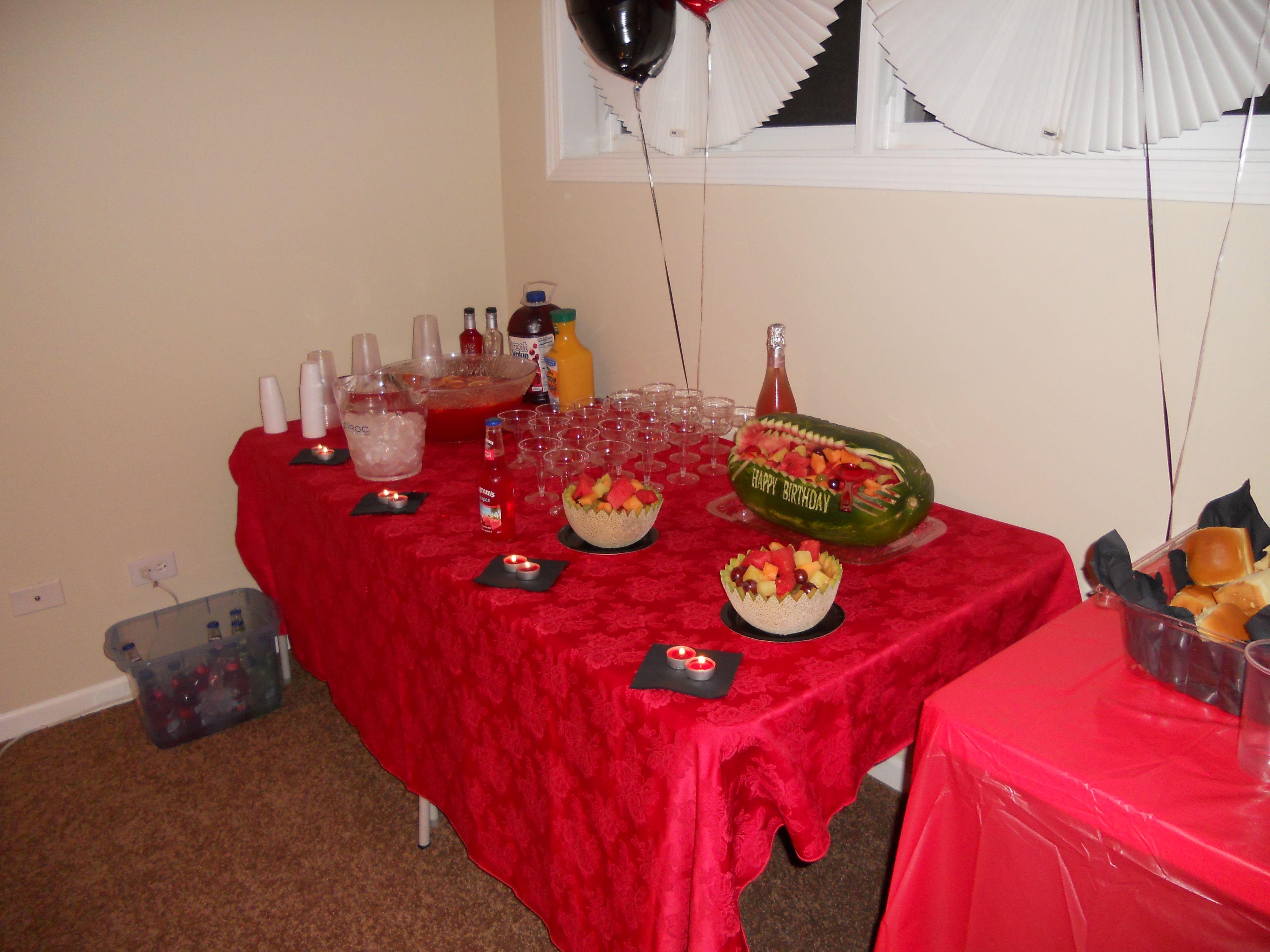 Greg's 21st birthday; food display