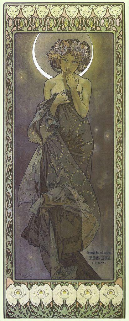 Alphonse Mucha /'The Moon and Stars/' FINE ART PRINT Mucha Art High Quality