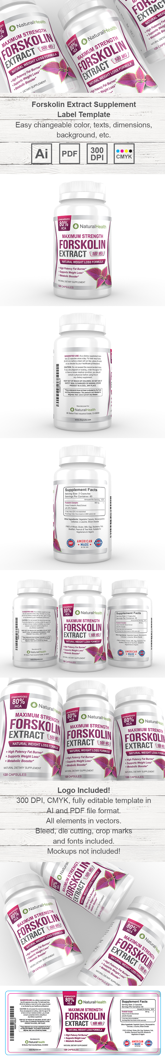 Forskolin Extract Supplement Label Template HttpWwwDlayouts