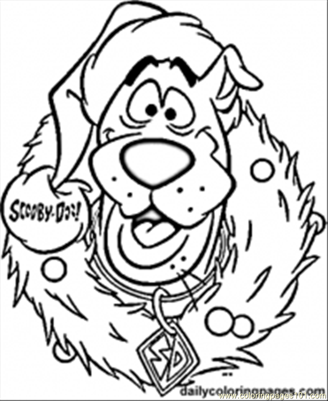 print out scooby doo wreath christmas coloring pages printable coloring pages for kids by tunmunda - Christmas Print Coloring Pages