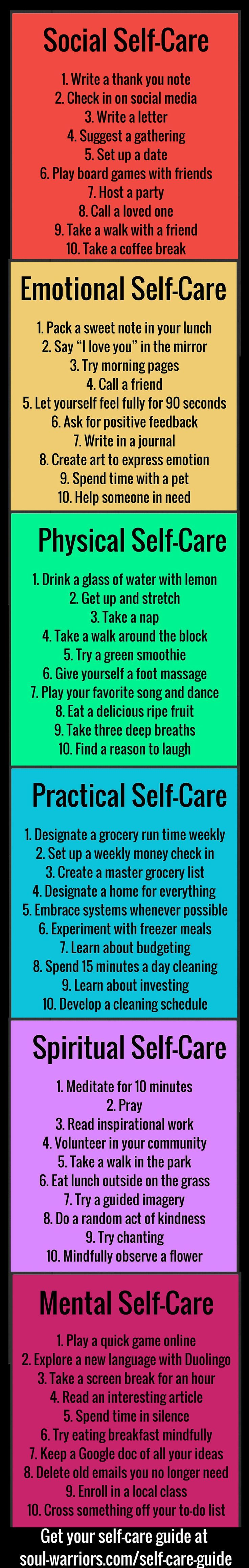 Self care guide free printable free and mental health self care guide soul warriors life design by liz connors sciox Gallery