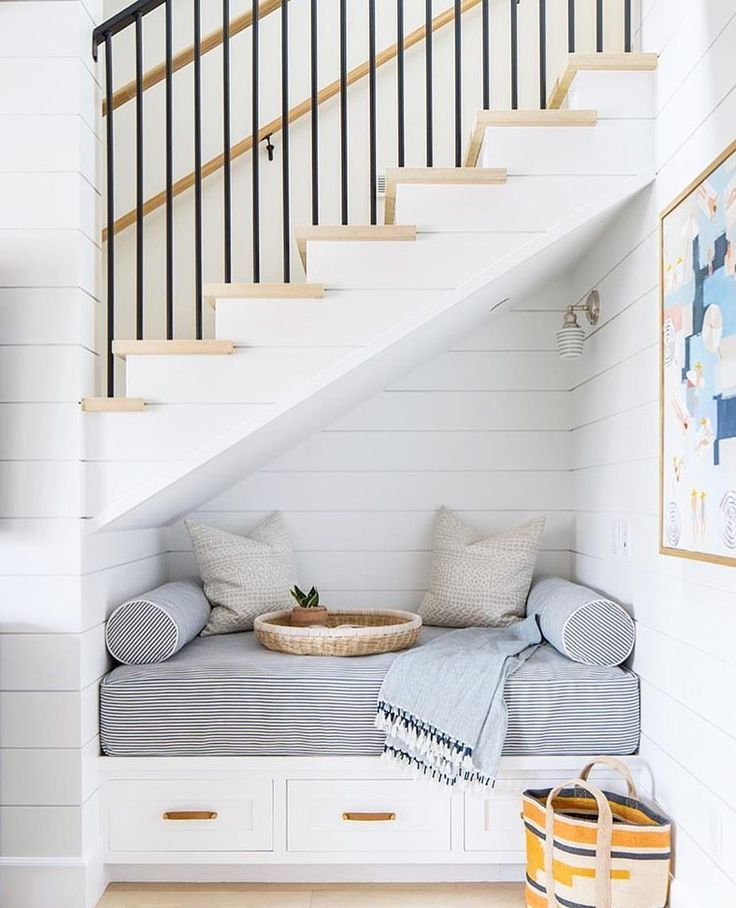 Best Built In Seat Under The Stairs Shiplap Coastal Decor Family Room Design Living Room Design 400 x 300