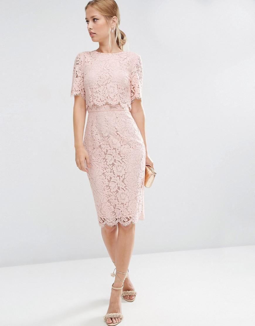 Asos Lace Crop Top Midi Pencil Dress At Asos Lace Crop Tops Midi Pencil Dress Lace Dress