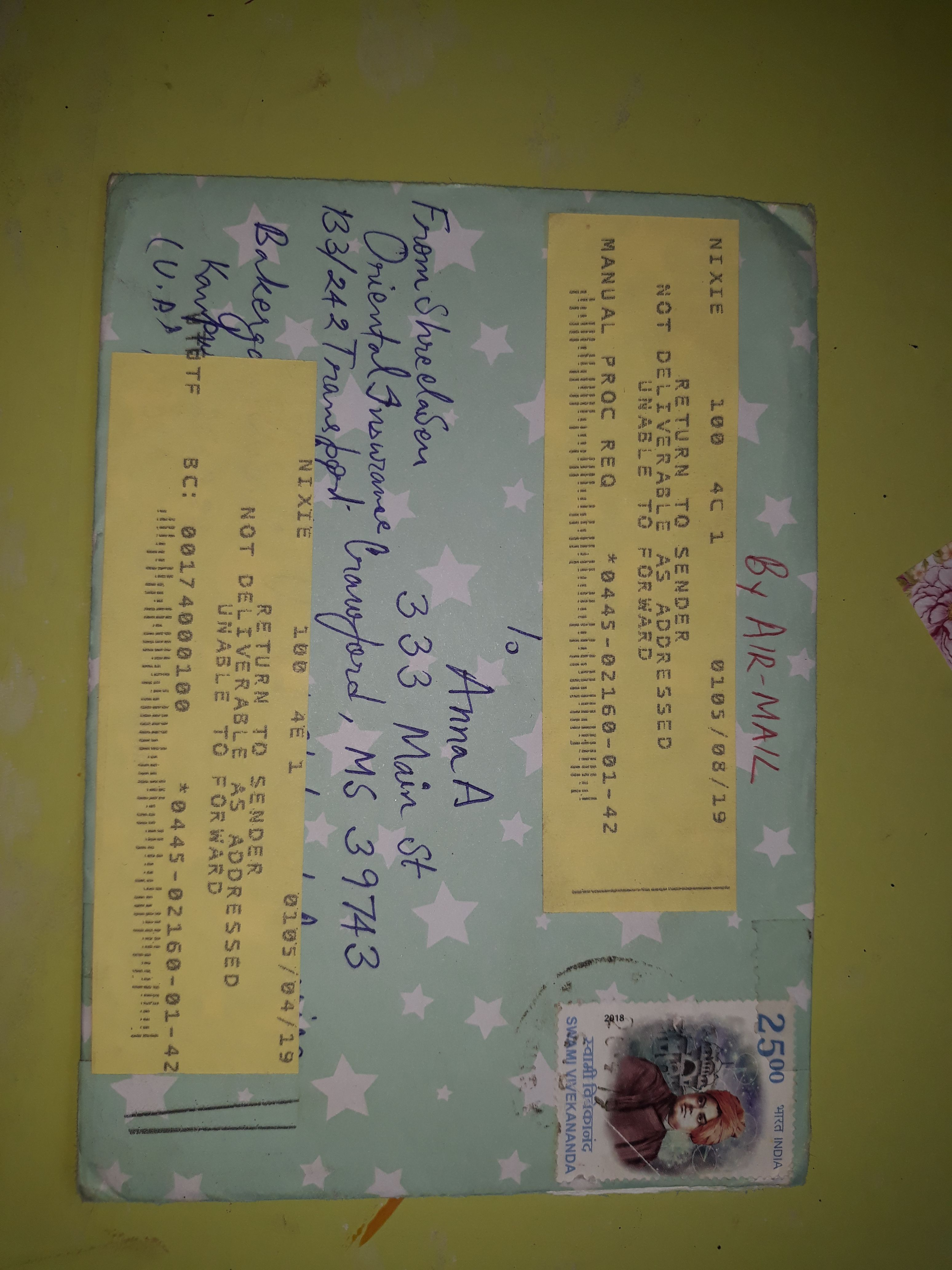 Returned Envelope With Images Envelope Oriental