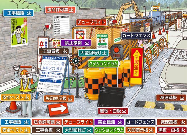 道路工事で使う安全標識や工事看板をイラストで探す 工事現場 工事
