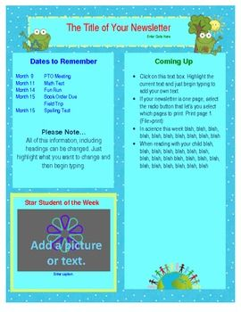 free word earth day newsletter template spring teaching