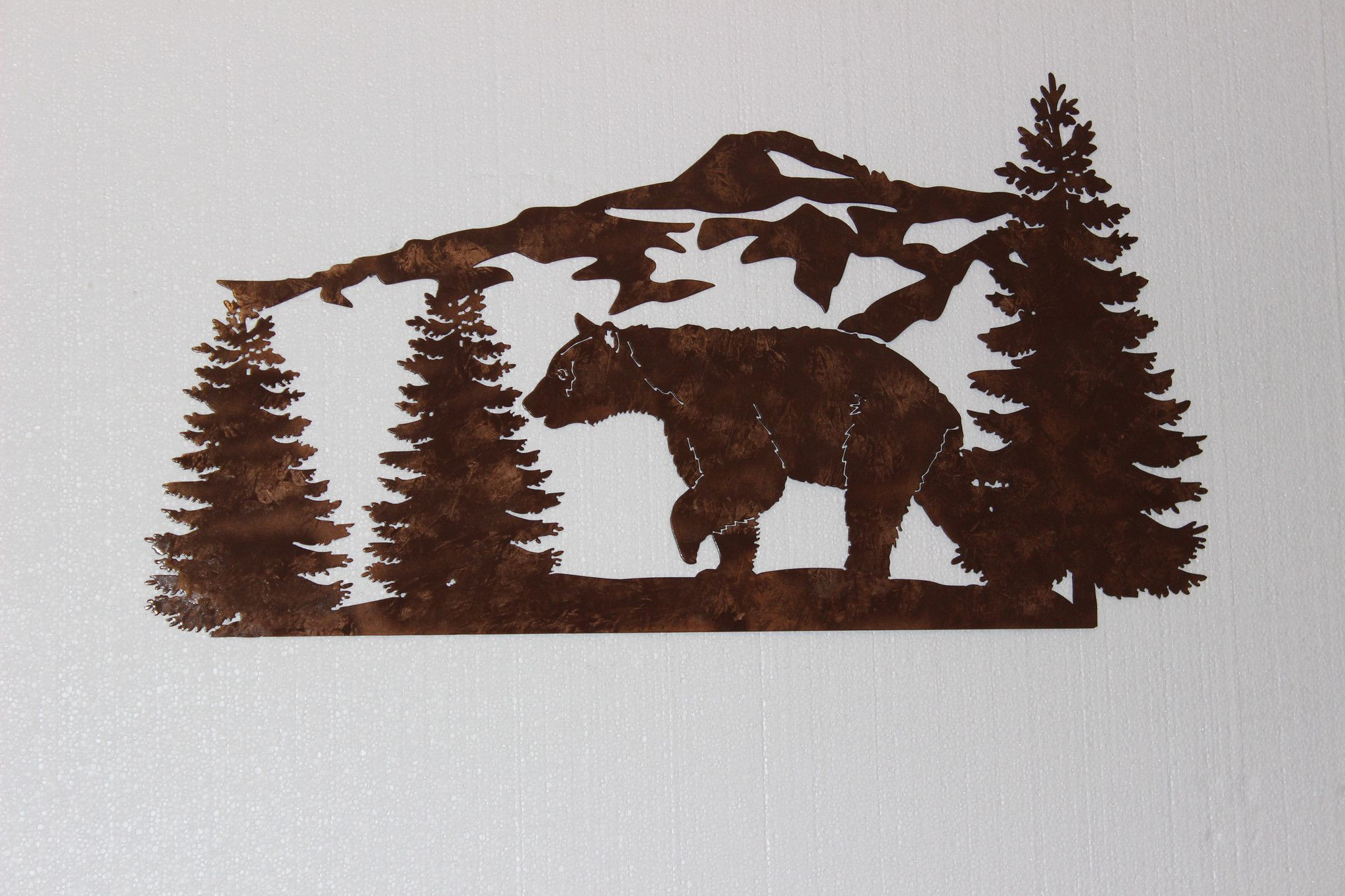 Bear and mountain pine tree scene large metal wall art country