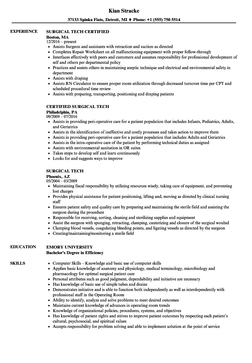 Surgical Tech Resume Project manager resume, Resume