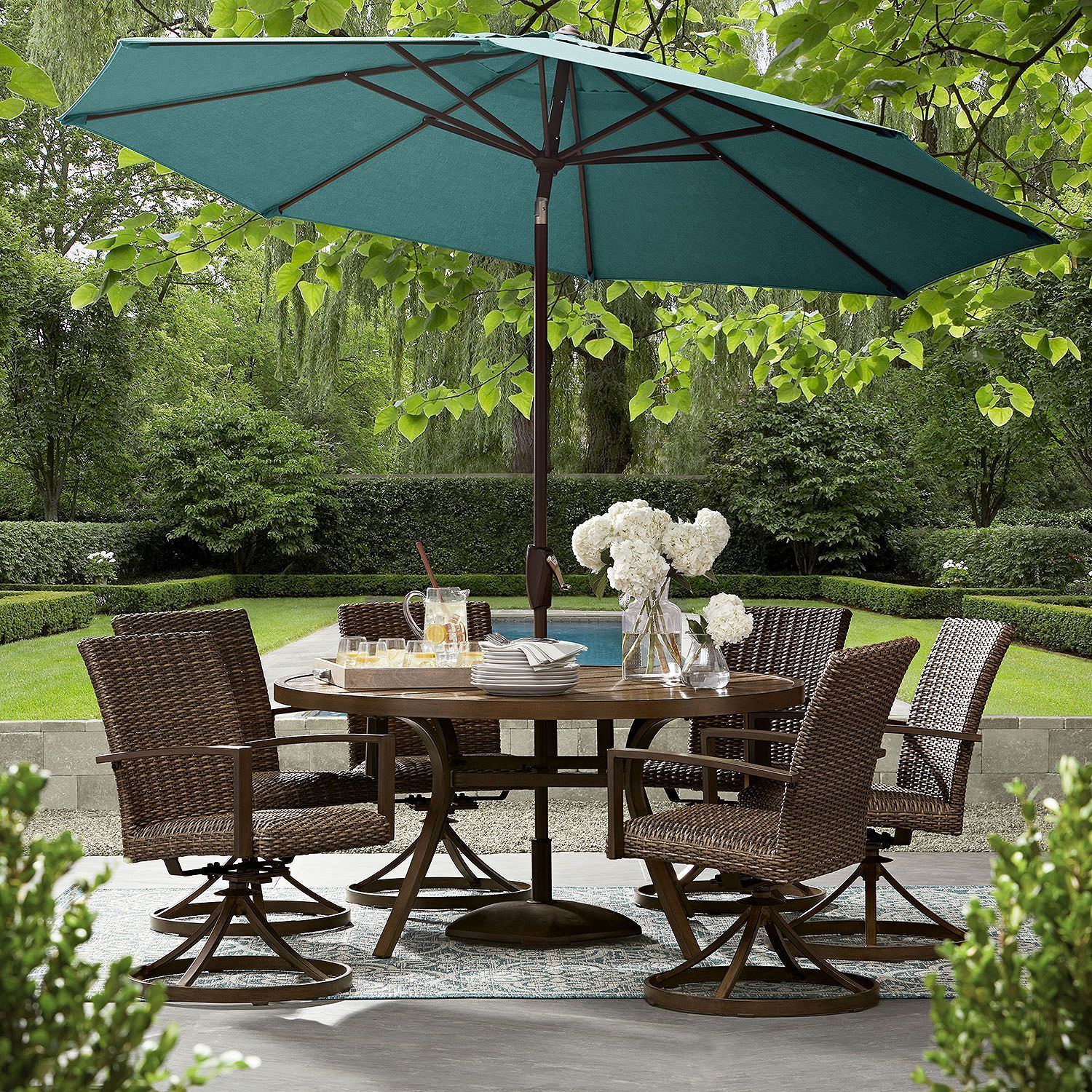 Member S Mark Agio Fremont 8 Piece Round Dining Set Patio