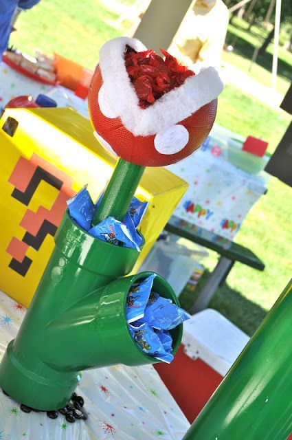 Diy mario birthday party pardiy fire flower centerpiece