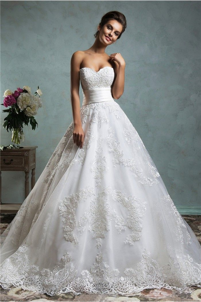 Royal Ball Gown Strapless Low Back Vintage Lace Wedding Dress With ...