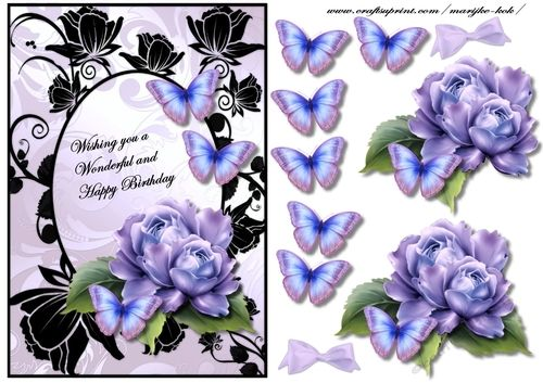 Special Bleu Roses on Craftsuprint designed by Marijke Kok - Gorgeous quick card with roses and butterflies, for a lovely card. - Now available for download!