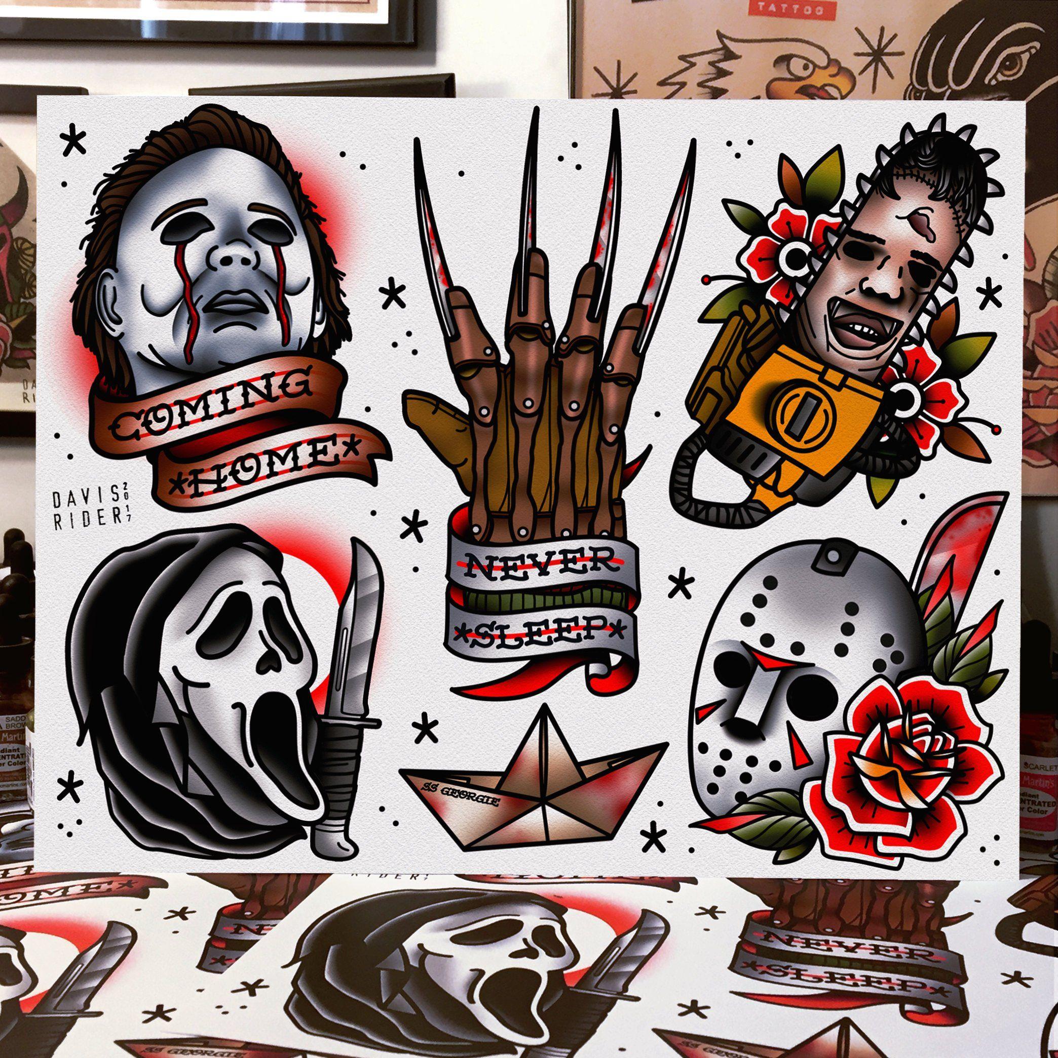 Horror Tattoo Flash Art Print Etsy Horror Tattoo Movie Tattoos Tattoo Flash Art