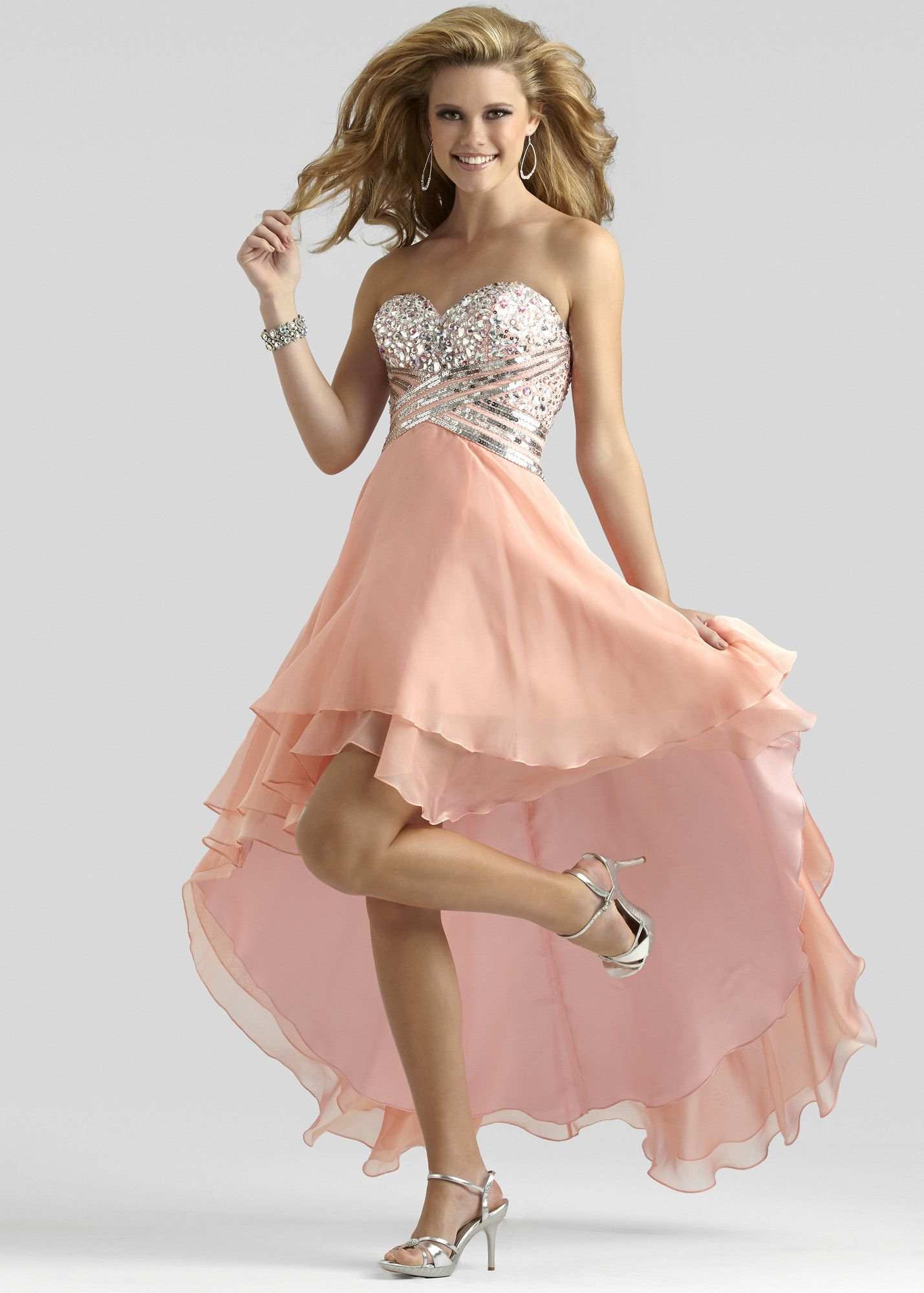 Clarisse peach sorbet strapless beaded hilo prom dress