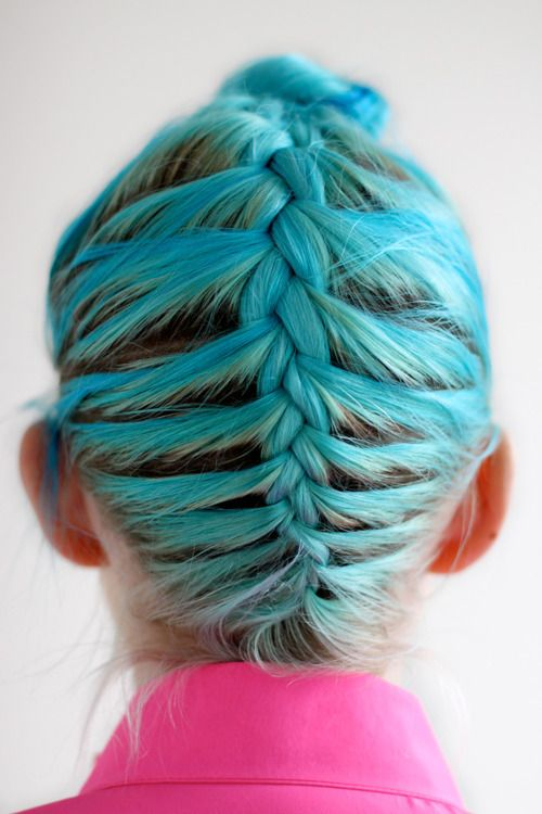 Blue hair braid plait