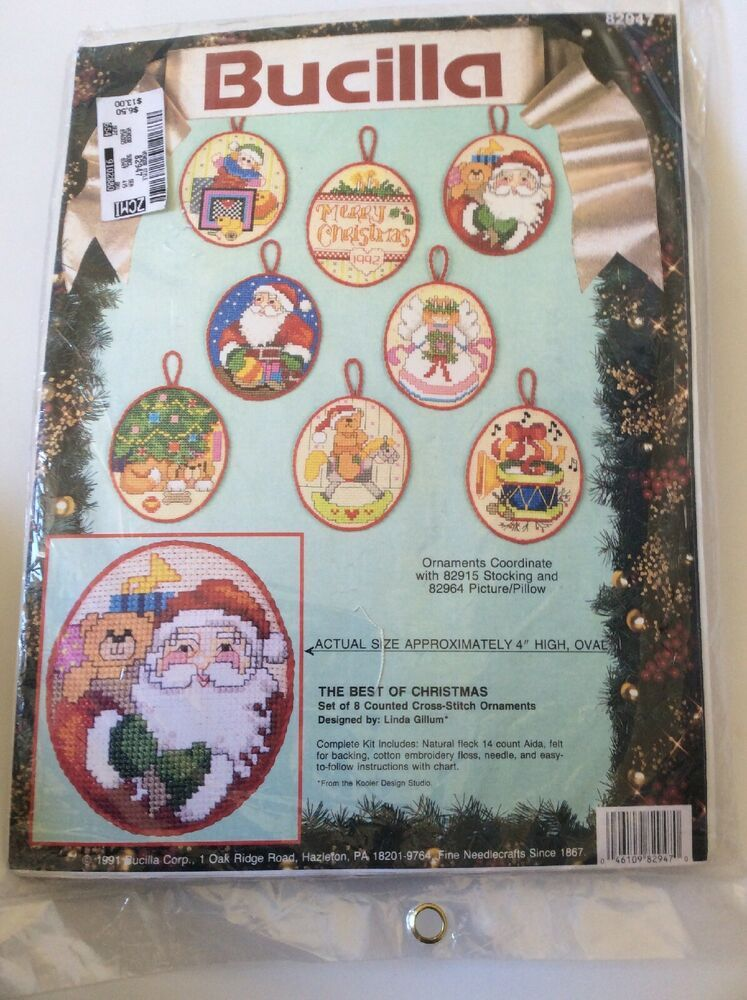 Bucilla  Counted Cross Stitch Christmas Shelf Kit Hanging pillow or picture. Rare Vintage