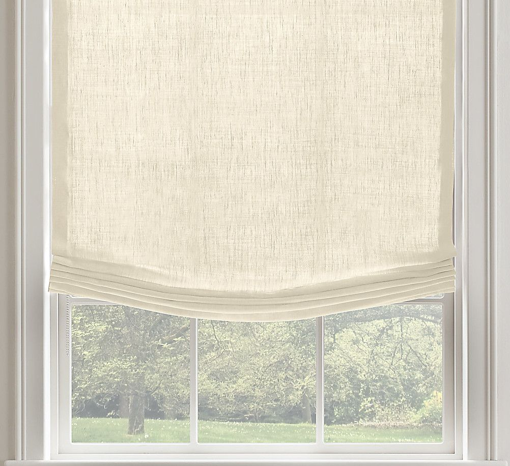 Beautiful Relaxed Linen Roman Shade Style Idea In Beige Combined