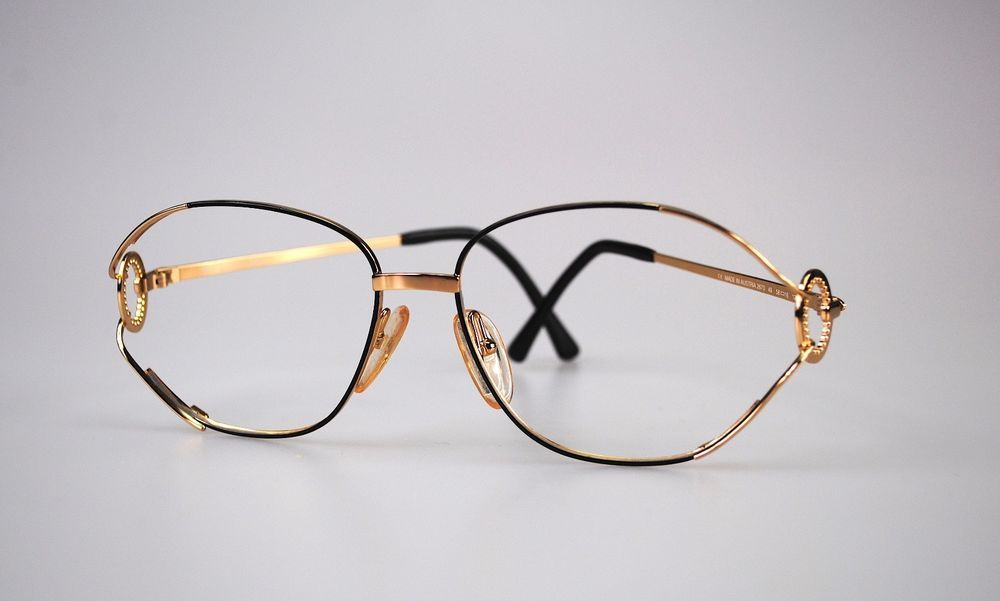 Vintage Genuine Christian Dior Large Gold Metal Frame Eyeglass Made ...