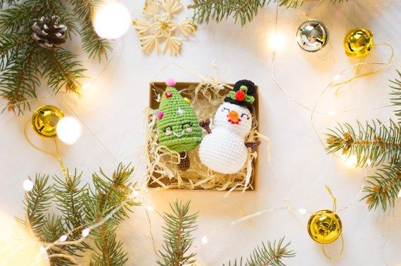 Christmas Tree Toys Handmade.Set Of 2 Christmas Tree Toys Crochet Chtistmas Tree And
