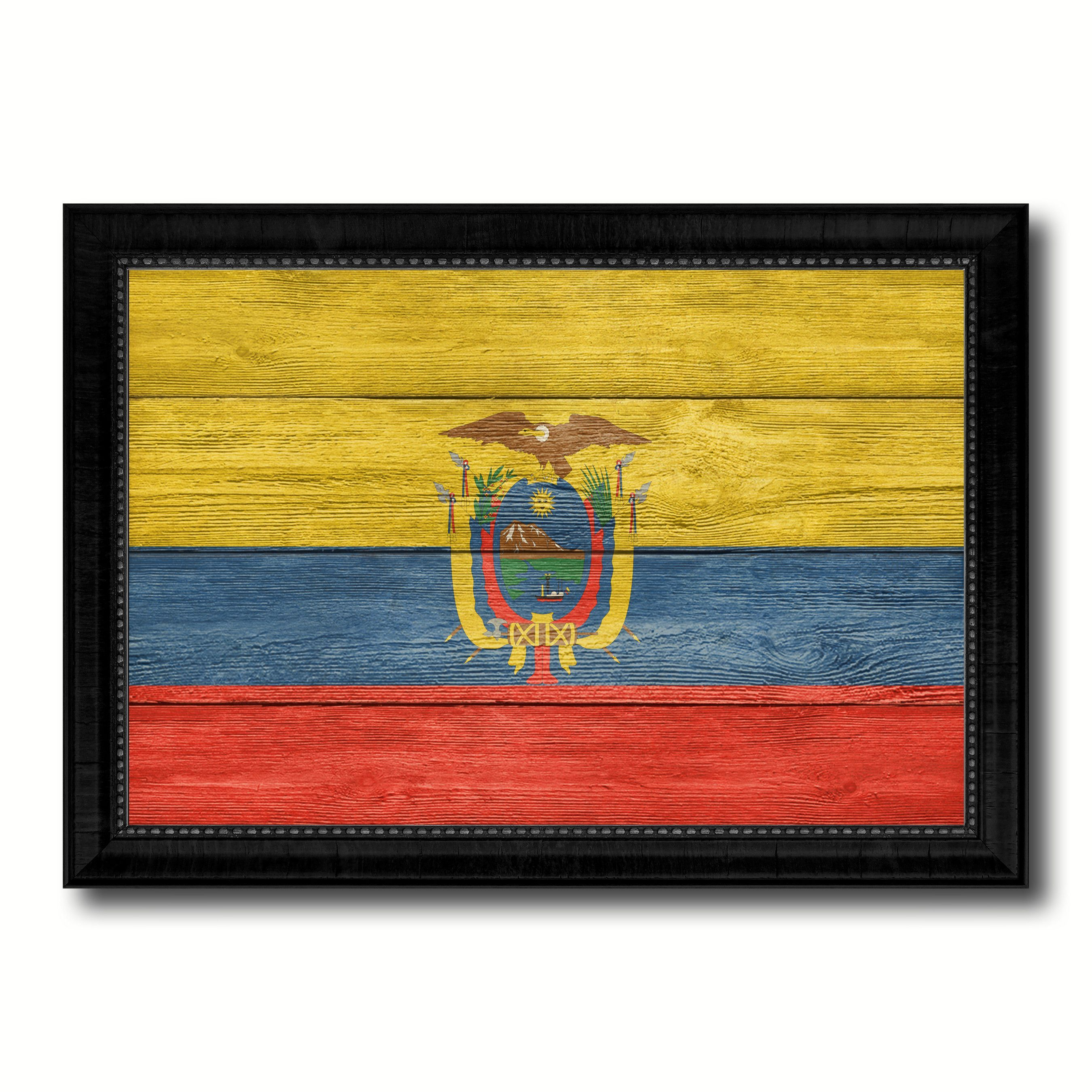 Ecuador Country Flag Texture Canvas Print with Black Picture Frame ...