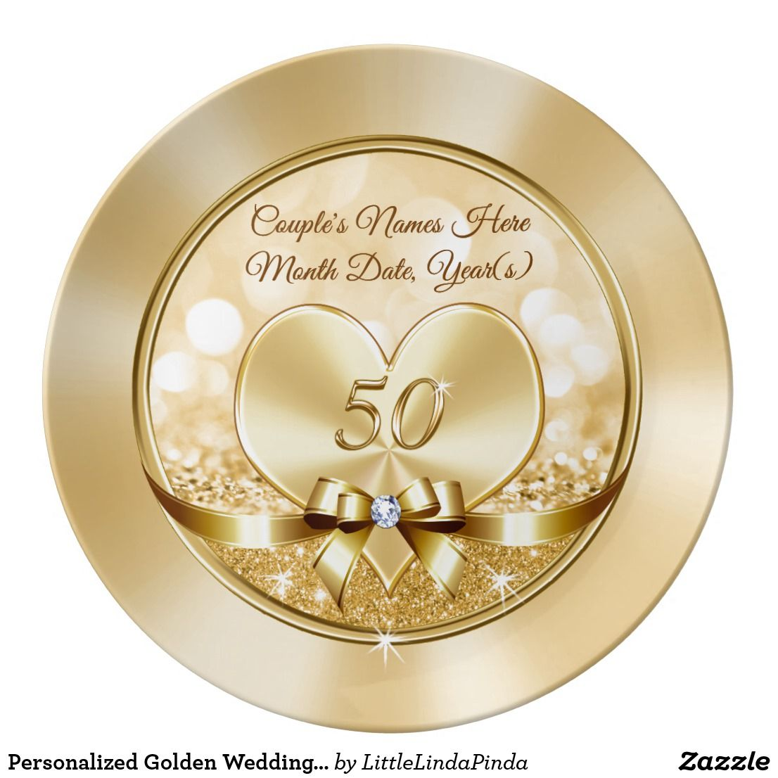 Personalized Golden Wedding Anniversary Gifts Dinner Plate Zazzle Com Golden Wedding Anniversary Gifts Wedding Anniversary Gifts 50 Wedding Anniversary Gifts