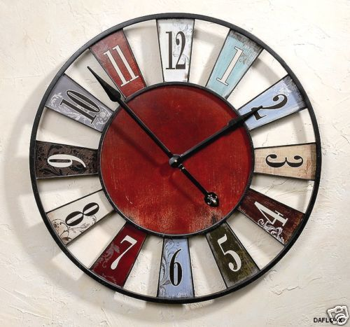horloge murale ancienne rustique rouge bleu diam tre 75 cm. Black Bedroom Furniture Sets. Home Design Ideas