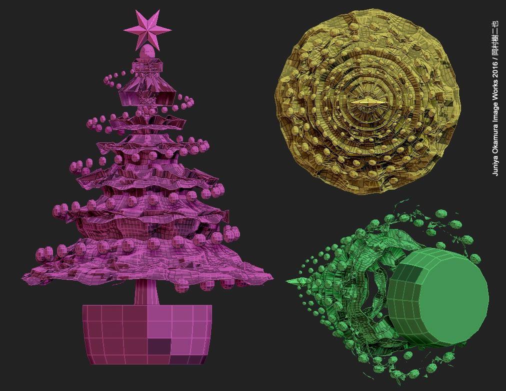 クリスマスツリー(ZBrush) Christmas tree by ZBrush