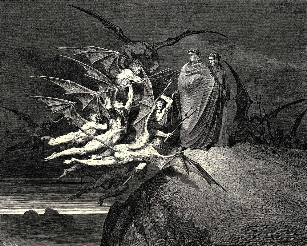Be None Of You Outrageous Inferno Canto Xxi Dantes Inferno  Be None Of You Outrageous Inferno Canto Xxi Dantes Inferno Illustration  By Gustave Dore