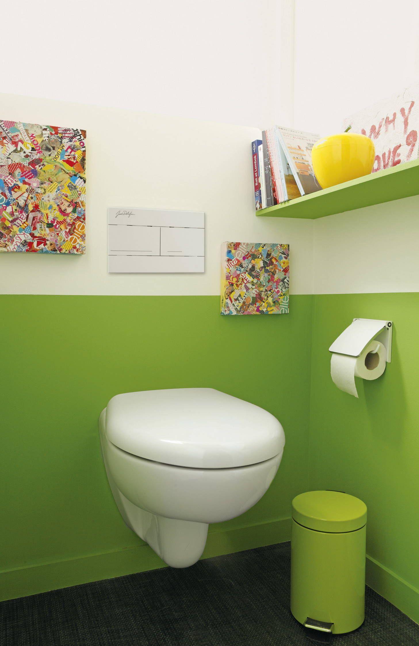 Peinture Wc 2 Couleurs des toilettes avec l'ensemble des accessoires coordonnés aux 2
