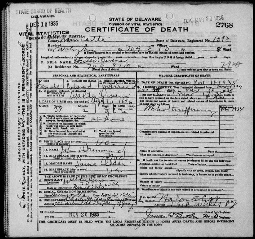 Walter Owens Death Certificatesrecords Ancestry Pinterest