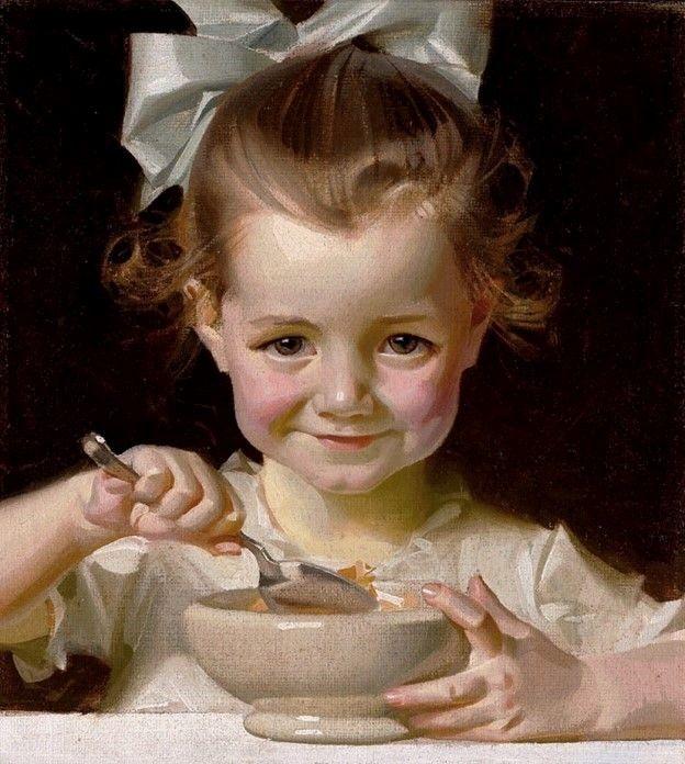 Leyendecker, Joseph Christian (b,1874)- Girl Eating Cereal