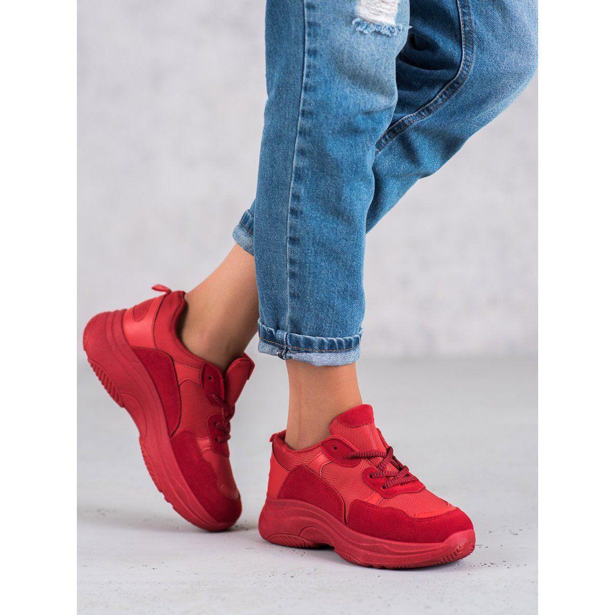 Shelovet Czerwone Buty Sportowe Wedge Sneaker Shoes Fashion