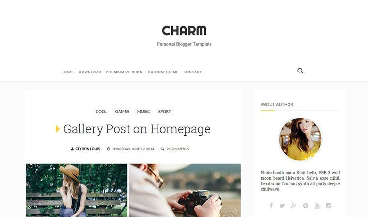 Charm Personal Templates Free Blogger Simple Blog Business Website News