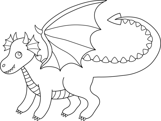 Dragon Outline Clipart #1