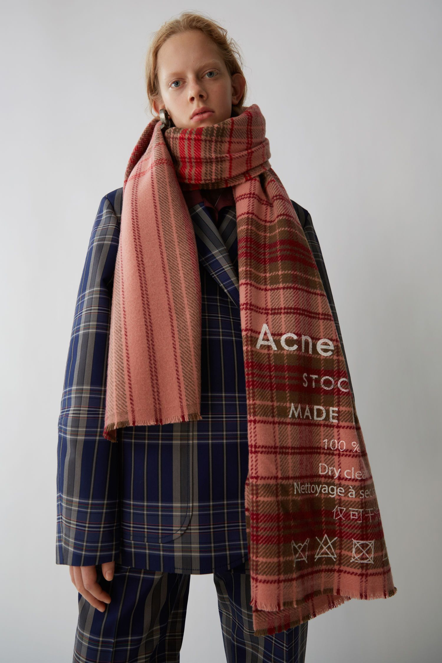 a04fcacd609 Cassiar Check Pale Pink / Camel Check | like | Acne scarf, Pale pink ...