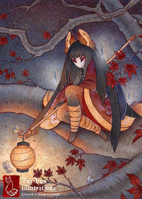 Lantern Light Kitsune Fox Yokai Japanese Style Art 5x7 Fine Art Print In 2021 Fox Illustration Kitsune Fox Fox Art